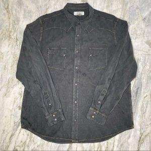 RYAN MICHAEL Silk Blend Long Sleeve Button Down XL